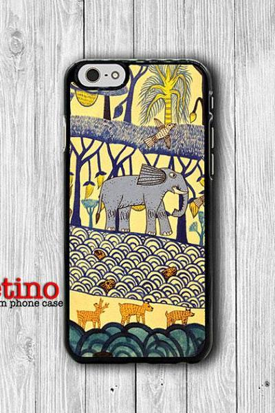 iPhone 6 Case - Elephant In Forest River Drawing iPhone 6 Plus, iPhone 5S Case, iPhone 5 Case, iPhone 5C Case, iPhone 4S Accessories Gift#1-95